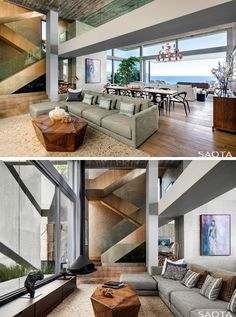 This open plan modern interior has a living room with large windows, a hanging fireplace, and a view of the wood-clad stairs. Stairs In Living Room, Tiny House Stairs, Living Room Mirrors, Living Rooms, Flooring For Stairs, Concrete Stairs, Stairs Colours, Stair Plan, Hanging Fireplace