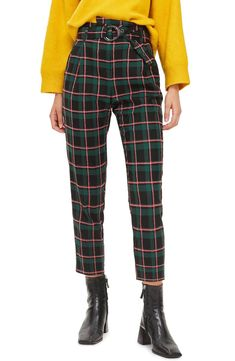 Vibrant checks enliven these work-to-play pants boasting a waist-cinching belt and cropped silhouette. Tomboy Fashion, Blazer Fashion, Look Fashion, Best Leggings, Leggings Are Not Pants, Women's Pants, Checked Trousers, Punk Outfits, Fashion Outfits