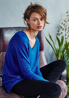 To create a simple, stylish silhouette, this knit from hush has an oversized body with slim sleeves. Wear with skinny jeans or leggings to balance the look.