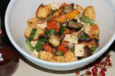This is my version of Panzanella, a hearty Italian salad great for using up the last of the stale bread! Its totally delicious and is substantial as a meal, or can be used as a side dish....