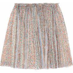Band of Outsiders Printed silk-blend chiffon mini skirt ($150) ❤ liked on Polyvore featuring skirts, mini skirts, bottoms, saias, jupes, cream, layered ruffle skirt, ruffle mini skirt, chiffon mini skirt and short pleated skirt