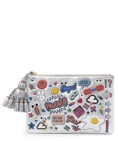 Emblazoned with the designer's quirky and effervescent stickers, this Anya Hindmarch Georgiana clutch bag is crafted from silver metallic leather, adding an instant glam appeal to the unique style.