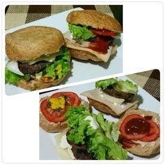 Nada mejor que esta cena para empezar este puente tan largo  Healthy burguers  Pan integral Carne de hamburguesa con lomo Lechuga Cebolla  Tomate Queso baja en grasa Jamón de pavo Mayonesa reducida marca kraft  La mía le agregue mostaza frenchs y pesto, mi novio si le puso salsa de tomate ... Feliz juernes a todos   #DatosFit #IdeasFit #VidaSaludable #NoEsDieta #ComidaSaludable #Dinner #FitDinner #HealthyFood #HealthyLiving #GinaFit  #ComidaSana #ComeSano #ComeLimpio #EatClean #Healthy…