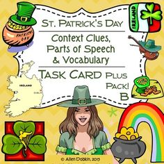 Four Leaf Clovers found here! [Grade 7-10] [Task Cards] [Vocabulary]70+ Task Cards, 8 Quizzes and Worksheets with 8-20 Questions Each Answer keys are included - over 20 terms covered - No prep required - just copy or project and go. These are terms relating to Ireland and Saint Patrick's Day. ****Get This Month's Awesome Free Download Right Now!9 Weeks of Vocabulary Lessons - ideal for SAT Prep!**** www.imLHL.com #PotofGold