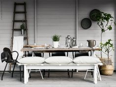 Full sized shot of the beautiful new ikea range photographed by Still Inspiration Ikea Outdoor, Outdoor Dining, Outdoor Spaces, Sinnerlig Ikea, Ikea Exterior, Living Spaces, Table Settings, New Homes, Inspiration