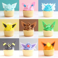 these adorable eeveelution cupcakes would be such a fun dessert to have at a pokemon birthday party! Pokemon Cupcakes, Pokemon Torte, Pikachu Cake, Pokemon Themed Party, Pokemon Birthday Cake, Festa Pokemon Go, Pokemon Craft, Pokemon Eeveelutions, Cute Desserts