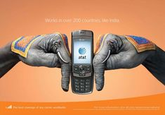 A worldwide campaign for a mobile phones company that uses hands for creating national symbols. This is the one for India.
