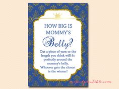 Royal Prince Baby Shower Game Pack, how-big-is-mommys-belly