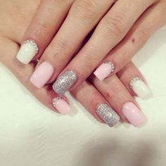 Pretty pink white and silver nails, with nail art