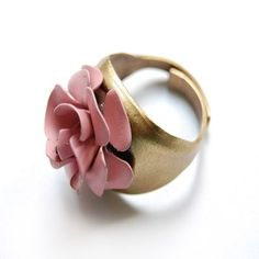 Hand Painted Baby Bloom Ring in Antique Pink by Twist Style. American Made. See the designer's work at the 2016 American Made Show, Washington DC. January 15-17, 2016. americanmadeshow.com #americanmadeshow, #americanmade, #jewelry, #ring, #flower, #pink