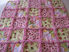Strawberry Shortcake Rag Blanket Baby Girl Shower Gift Crib Rag Blanket Stroller Rag Blanket Rag Quilt Blanket 35x35 by farmernurse on Etsy
