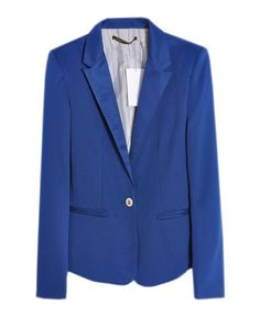Single Button Blazer with Lapel Collar in Candy Color