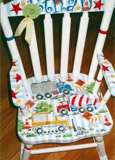 Kid's Wood Rocking Chair Painted Rocking Chairs, Hand Painted Chairs, Painted Stools, Hand Painted Furniture, Painting Kids Furniture, Diy Kids Furniture, Colorful Furniture, Furniture Projects, Home And Deco