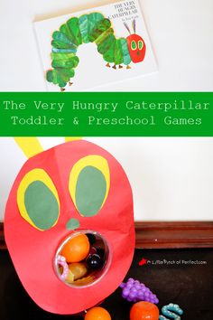 The Very Hungry Caterpillar Toddler & Preschooler Games- Learn Letters, Numbers, Colors and more with the classic Eric Carle book. The Very Hungry Caterpillar Activities, Hungry Caterpillar Craft, Caterpillar Book, Toddler Preschool, Toddler Activities, Preschool Activities, Toddler Games, Preschool Lessons, Toddler Crafts