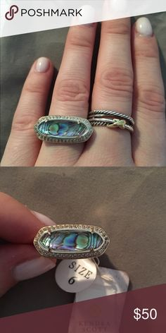 NWT silver and abalone Arielle ring size 6 NWT silver and abalone Arielle ring size 6. Sorry I don't trade Kendra Scott Jewelry Rings