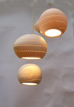 Mixed balls, Ball and three eggs shape with spiral holes, pendant light. Rustic Ceiling Light Fixtures, Ceiling Canopy, Ceiling Lights, Lamp Light, Light Bulb, Goldfish Bowl, Fine Porcelain, Painted Porcelain, Hand Painted