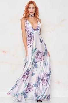 796657dcd4de Maya Floral Satin Maxi Dress - Purple