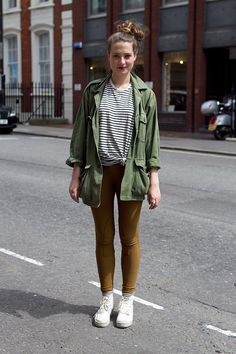I could pair my striped shirt with yellow/burgundy pants & jean jacket.