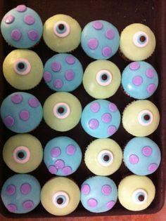 monsters inc cupcakes, 1st birthday, take home treats??