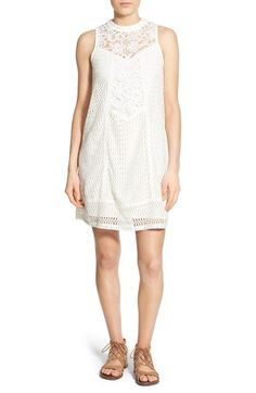 pattern:: Love, Fire Illusion Yoke High Neck Lace Shift Dress available at #Nordstrom