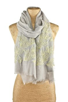 Embroidered Leaf Scarf - Grey