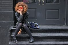 Sequins! Christina Caradona wears our Diva sneakers in Black sequins in Soho, NYC.
