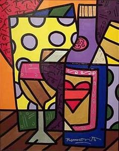want this in my kitchen - love britto Bright Colors Art, Painted Wooden Boxes, Graffiti Painting, Wine Art, Arte Pop, Psychedelic Art, Art Techniques, Unique Art, Art History