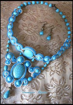 "Necklace soutache ""Blue sky"""""