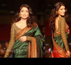 Shriya Saran in a stunning Sabyasachi saree. Love the tie-back blouse.