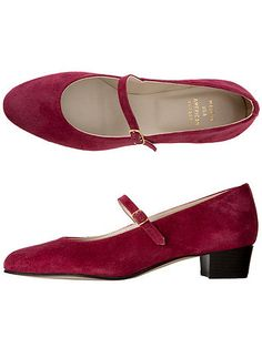 American Apparel - Mary Jane Pump Suede Shoe - Deep Rose $90.00
