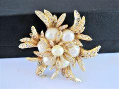 Hattie Carnegie Pearl Brooch - Large Baroque Pearls  - Rhinestones Surrounding Gold Tone Metal  Vint