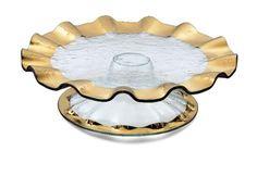 Ruffle Series Gold Annieglass 13 Inch Buffet Plate