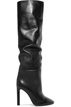 Saint Laurent - Kate Leather Knee Boots - Black Source by Boots Sexy Boots, Black Boots, Thigh High Boots, Over The Knee Boots, Winter Date Outfits, Cozy Outfits, Heeled Boots, Bootie Boots, Saint Laurent Boots