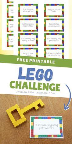 Lego Activities, Library Activities, Printable Activities For Kids, Lego Engineering, Engineering Challenges, Lego Building Games, Building Ideas, Challenge Cards, Lego Challenge