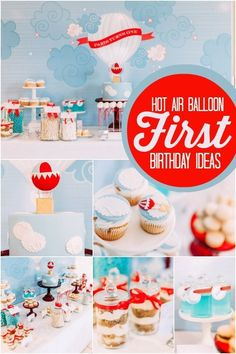 Boy's Hot Air Balloon First Birthday Party Ideas