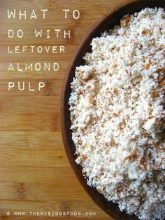 What To Do With Leftover Almond Pulp is part of Almond recipes - Instead of throwing away the leftover pulp after making homemade almond milk, dry it at a low temperature to make almond meal, which can be used in a myriad of recipes Make Almond Flour, Homemade Almond Milk, Almond Flour Recipes, Almond Meal, Raw Food Recipes, Cooking Recipes, Healthy Recipes, Healthy Drinks, Dessert