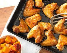 Chicken Wings mit Aprikosenkonfitüre und Kürbis Chicken, Meat, Food, Recipes, Eten, Meals, Cubs, Kai, Diet
