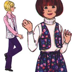 Groovy Girls' Outfit with Vest! Vintage 1970s Butterick Sewing Pattern 5908, Girls' Vest, Pants and Skirt, Size 7, Uncut with Factory Folds by karl79 on Etsy