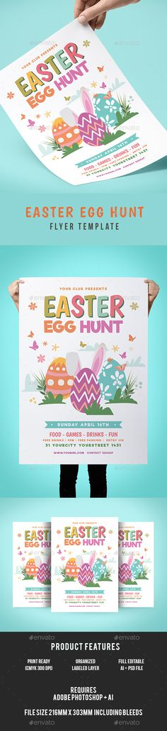 Easter Flyer  Photoshop Psd Rabbit Easter Flyer  Download