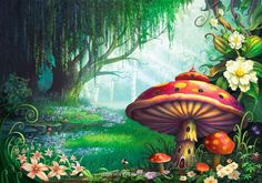fairytale wall murals | Fantasy Wall Mural with Enchanted Forest - Wallpaper Mural Ideas ...