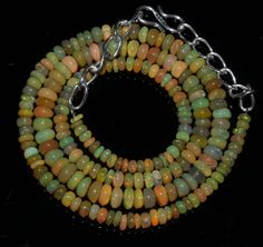"""54 Crts 1 Necklace 3to5mm 18"""" Beads Natural Ethiopian Welo Fire  Opal  61011"""