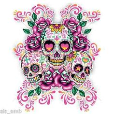 Sugar Skull Floral HEAT PRESS TRANSFER for T Shirt Sweatshirt Quilt Fabric 752e in Crafts, Sewing & Fabric, Sewing | eBay
