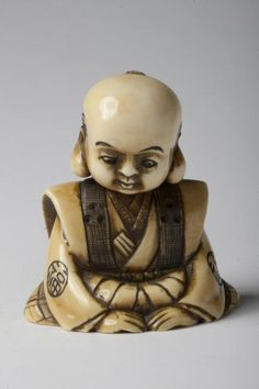 netsuke of Fukusuke with nodding head 銘「信正」 首振り福助 牙彫からくり根付. Japan, Kyoto. Nobumasa (Japanese, active early 1800s). approx. 1800-1850. Ivory with detail staining Noh Theatre, Asian Artwork, Asian Art Museum, Online Collections, Japan Art, Art Object, Sculptures, Objects, Carving