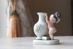 Porcelain MOCCO Nude Bud Vase, $30.00 Made in Occupied Japan, Top Knot, Desktop, Hostess Gift, Bud Vase, Flower Vase, Collectible (WTH-1117) by WeeklyTreasureHunt on Etsy