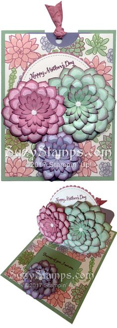Stampin' Up! Cards - 2017-04 Class - Oh So Succulent stamp set and Succulent, Stitched Shapes and Layering Circles Framelits Dies