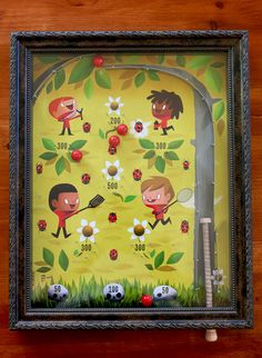 """My piece, a bagatelle game called """"Fly, Ladybug, Fly"""" which is a part of this amazing show: http://dragatomi.com/blogs/news/7842851-play-a-group-show-curated-by-julie-west-opens-this-saturday"""