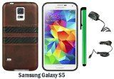 SAMSUNG GALAXY S5 TPU IMD LEATHER FINISH CASE WITH CARBON FIBER STRIPS + Travel (Wall) Charger + 1 of New Metal Stylus Touch Screen Pen (BROWN / BLACK)  Hot New Electronic Products