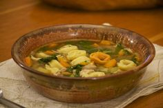 Turkey tortellini soup. Excellent use of Thanksgiving leftovers! Make stock from your turkey and throw the little bits of turkey in the soup!