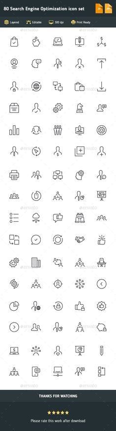 80 Search Engine Optimization Icon Set — Vector EPS #analytics #icon • Download ➝ https://graphicriver.net/item/80-search-engine-optimization-icon-set/19456085?ref=pxcr