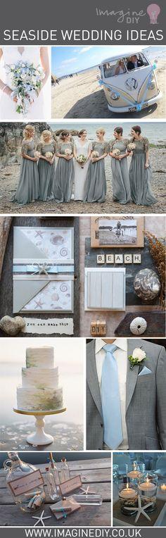 Seaside wedding ideas diy beach blue grey theme